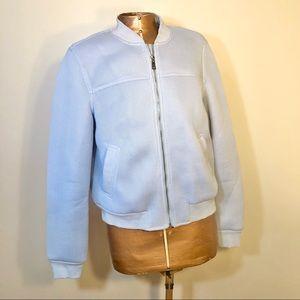 Forever 21 Grey Mesh Bomber Zip Jacket